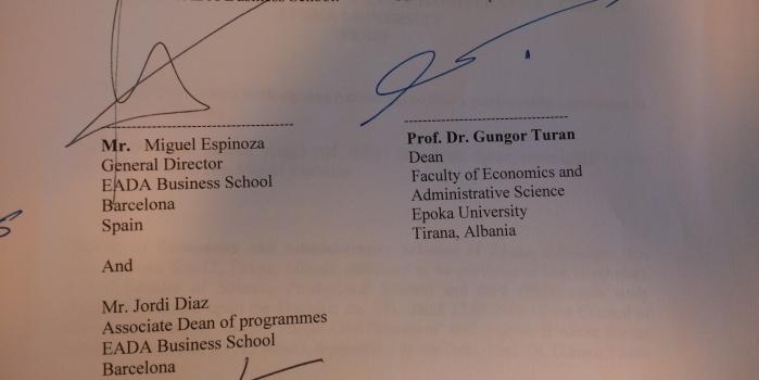 Signing a Memorandum of Understanding with EADA Business School
