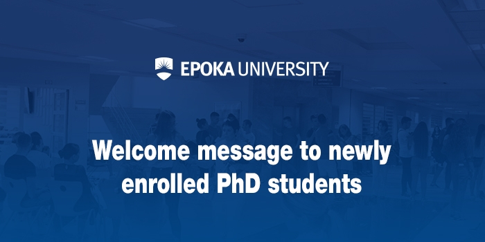 Welcome message to newly enrolled PhD students