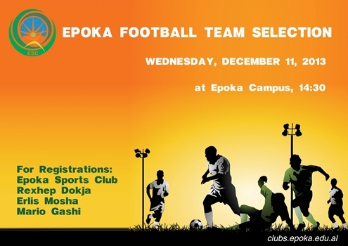 Epoka Football Team Selection