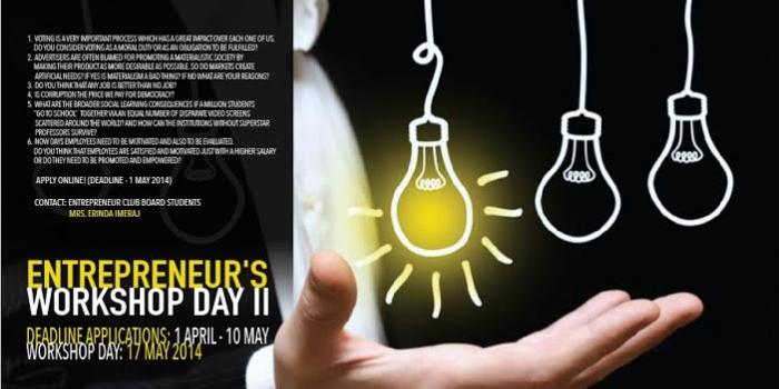 Apply Now for 2nd Entrepreneur's Workshop Day!