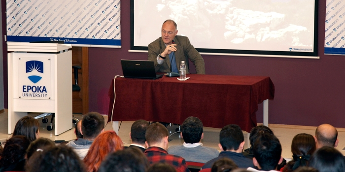 Mr. Auron Tare participates at the Open Forum with Epoka University students