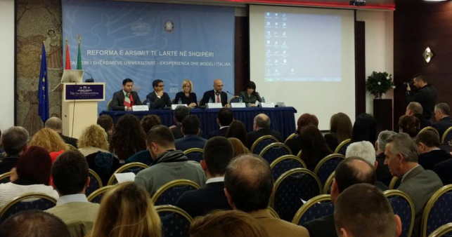 "Epoka University staff participated in the ""Higher Education Reforms in Albania: Realization of the University Services - the Italian Experience and Italian model"" conference."