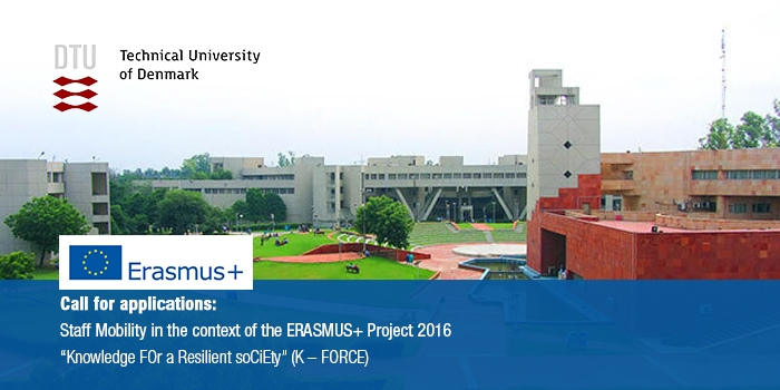 Call for applications: Staff Mobility in the context of the ERASMUS+ Project 2016